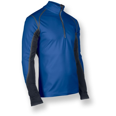 Fitness Don't let the weather ever deter a workout. The Sugoi Firewall 180 Zip top lets you focus on your run and forget the cold and rain. Lightweight, stretch soft-shell fabric features a breathable polyurethane laminate to resist wind and water. Durable water repellent finish fends off light rain showers and snow. Moisture-wicking interior helps prevent clamminess. Stretch-knit sleeves provide a non-constricting fit. Thumbholes secure sleeves over hands for warmth. Zippered sleeve pocket holds ID, key or media player. Reflective accents on the Sugoi Firewall 180 Zip jacket help keep you visible. Pro fit offers a next-to-skin fit for excellent warmth retention. Closeout. - $41.73