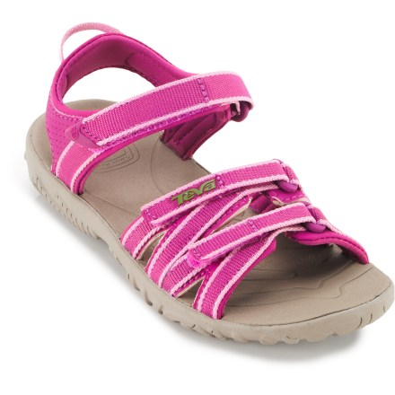 Surf From playground to campground to the beach, the Teva Tirra girls' sandals supply fun, strappy style and an easily adjustable, supportive fit for comfort wherever her adventures take her. - $11.83