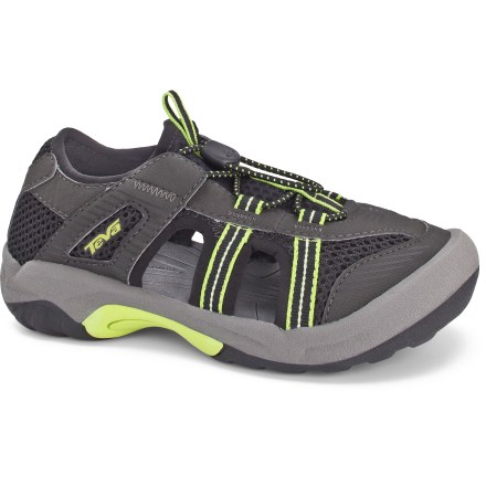 Surf Both trail- and sidewalk-worthy, these Teva Omnium 2 boys' sandals adjust quickly for a comfortable fit. Durable synthetic leather and breathable polyester mesh uppers protect feet while allowing water to flow freely from sandals. Bungee laces offer convenient entry and a comfortable, secure fit. Polyester mesh linings and integrated toe bumpers protect bare feet from pressure and abrasion while helping to keep debris out of sandals. Soft, compression-molded EVA midsoles supply all-day cushioning and shock absorption. Nonmarking Spider Rubber(R) outsoles have an aggressive lug design that bites into mixed terrain and sheds debris. Teva Omnium 2 sandals feature a Microban(R) zinc-based antimicrobial treatment to help deter odors. - $26.83