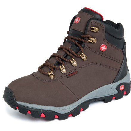 Camp and Hike The Wenger Spring hiking boots are the perfect boots for all-weather day hikes and light weekend trips. Synthetic nubuck leather uppers offer durability; padded ankle collars keep trail debris out. Textile linings keep feet comfortable by wicking away moisture when the temperature rises. Boots feature waterproof breathable membranes to keep feet dry and comfortable. Shock-absorbent EVA midsoles cushion every step. Rubber outsoles offer solid traction on uneven ground. Closeout. - $24.83
