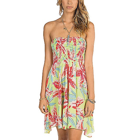 Surf On Sale. Free Shipping. Billabong Women's Daniella Dress DECENT FEATURES of the Billabong Women's Daniella Dress Woven bandeau dress with smocked upper Slight handkerchief hem and all over tropical print The SPECS 67% Rayon 33% Cotton (CWP) 88% Rayon 17% Cotton (LT with OFB) - $36.99