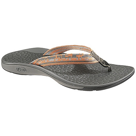 Surf Free Shipping. Chaco Women's Fathom Sandal DECENT FEATURES of the Chaco Women's Fathom Sandal Intelligently designed straps tuck under your foot to keep your flips from 'flop'in g 25% recycled EcoTread rubber outsole is siped for wet surfaces The SPECS Weight: 5.90 oz / 172 g The SPECS for Upper Polyester jacquard webbing upper with nylon webbing toe post Cement construction Fixed fit The SPECS for Midsole ChaPU polyether polyurethane footbed Luvseat XO2 platform The SPECS for Outsole NearGround siped outsole with EcoTread rubber 1.5-2mm lug depth, siped Non-marking - $59.95