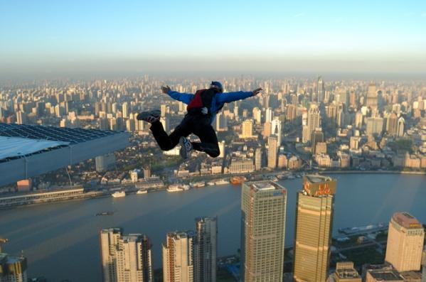 Extreme BASE Jumping From the Top of Shanghai's Jin Mao Tower