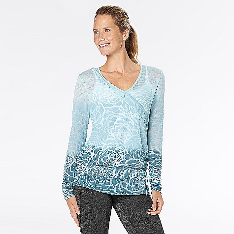 Fitness On Sale. Free Shipping. lucy Women's Blooming Lotus Burnout Top The SPECS Fit: Body Skimming, Faux Wrap, Ruffle Detail Along Wrap Line Burnout Burnout 50% Cotton 50% Polyester - $41.27