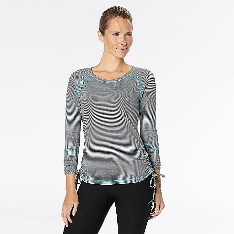 Fitness Free Shipping. lucy Women's Race Your Heart Out Long Sleeve Top The SPECS Fit: Body skimming, raglan sleeves, thumbholes, curved hem, mesh insets, ruched sides and back Moisture wicking Ventilation Reflective UPF 30 Flatlocked seams Stripe jersey knit 50% supplex 22% polyester - $68.95