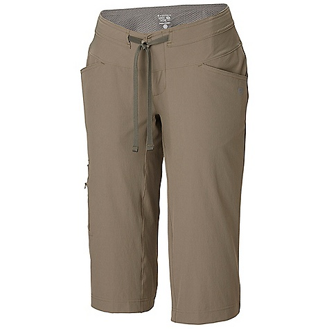 Free Shipping. Mountain Hardwear Women's Yuma Capri DECENT FEATURES of the Mountain Hardwear Women's Yuma Capri Micro-Chamois-lined seamless conical waist for comfort under a pack Soft drawcord at waist for easy fit adjustments Full length inseam gusset for mobility Durable, 4-way stretch fabric for movement DWR finish repels water The SPECS Average Weight: 8 oz / 240 g Inseam: 18in. / 46 cm Body: Switchback ii Softshell (88% nylon, 12% elastane) Lining: Brushed Mesh lining (100% polyester) - $64.95