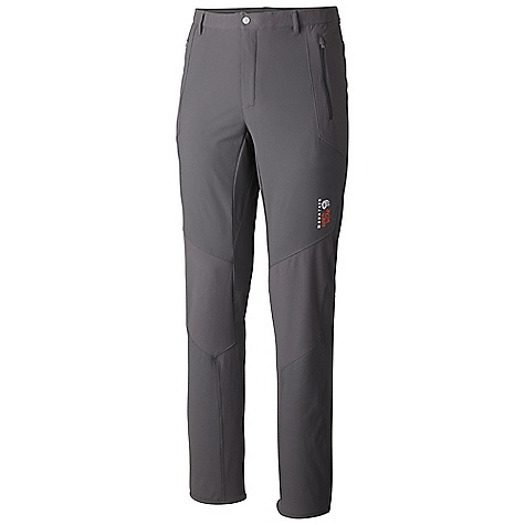 Free Shipping. Mountain Hardwear Men's Warlow Hybrid Pant DECENT FEATURES of the Mountain Hardwear Men's Warlow Hybrid Pant Elastic waist band with belt loops for customized fit Zippered hand pockets Reinforced knee panels and scuff guard at hem Articulated knees The SPECS Average Weight: 13 oz / 360 g Inseam: 30, 32, 34in. / 76, 81, 86 cm Body: Double Weave Twill (92% nylon, 8% elastane) Panel: Ripstop Reinforcement (90% nylon, 10% elastane) - $149.95