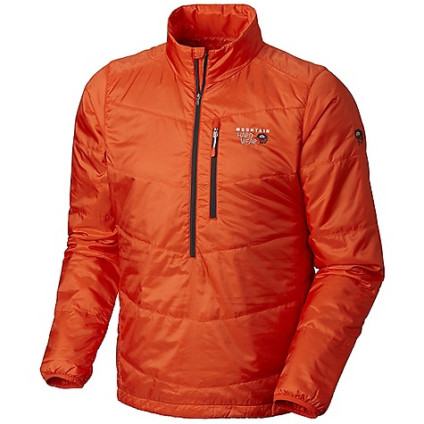 Free Shipping. Mountain Hardwear Men's Compressor Pullover DECENT FEATURES of the Mountain Hardwear Men's Compressor Pullover Deep zipper opening at neck for easy on/off and thermoregulation Zip chest stash pocket Single hem drawcord for quick fit adjustment Full elastic cuffs slide easily over layers to seal in warmth The SPECS Average Weight: 8 oz / 235 g Center Back Length: 27in. / 69 cm Body: 20d polyester ripstop (100% polyester) Insulation: 40g thermic Micro tk - $159.95