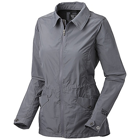 Free Shipping. Mountain Hardwear Women's Hoener Jacket DECENT FEATURES of the Mountain Hardwear Women's Hoener Jacket Internal waist adjustment system Adjustable button cuff tabs Covered mesh venting on back for breathability Two hand pockets Drop tail hem for extra coverage The SPECS Average Weight: 12 oz / 354 g Center Back Length: 29in. / 74 cm Body: 75d Shape Memory Woven (100% polyester) - $149.95