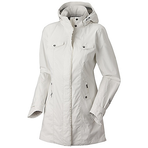 Free Shipping. Mountain Hardwear Women's Medina Jacket DECENT FEATURES of the Mountain Hardwear Women's Medina Jacket Fully adjustable, removable hood Interior zip pocket for keys, ID, other small items 2-way, covered center front zipper Adjustable button cuff tabs Water resistant zip hand pockets Drop tail hem for extra coverage The SPECS Average Weight: 15 oz / 437 g Center Back Length: 34.5in. / 88 cm Body: Dry.Q 2.5l 70d ripstop (100% nylon) - $259.95