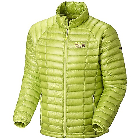 Free Shipping. Mountain Hardwear Men's Ghost Whisperer Down Jacket DECENT FEATURES of the Mountain Hardwear Men's Ghost Whisperer Down Jacket Q.Shield Down has an advanced treatment applied that resists heat-robbing moisture and retains maximum loft in damp conditions Quilted construction holds insulation in place Two front handwarmer pockets Jacket stows in pocket Lightweight single pull hem drawcord The SPECS Average Weight: 7 oz / 205 g Center Back Length: 27in. / 69 cm Body: 7d x 10d Whisperer ripstop (nylon) Insulation: Q.Shield Down 850-fill - $299.95
