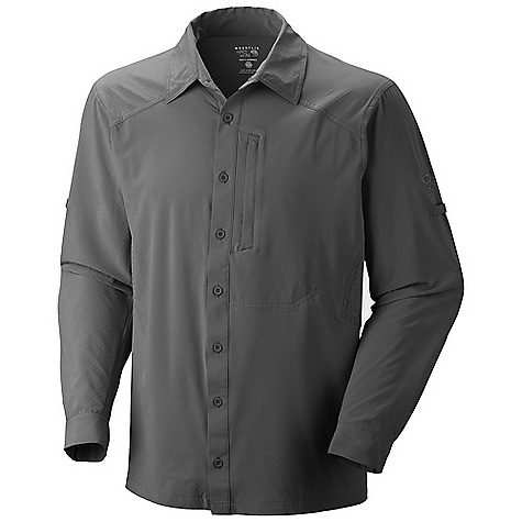 Free Shipping. Mountain Hardwear Men's Chiller LS Shirt DECENT FEATURES of the Mountain Hardwear Men's Chiller Long Sleeve Shirt Wrinkle-resistant, quick-drying and durable fabric Seams rotated away from pressure points for comfort under a pack Flip-up sun protection collar Zip chest pocket Sleeve roll-up tab for quick fit adjustments The SPECS Average Weight: 9 oz / 255 g Center Back Length: 29in. / 74 cm Body: Cool.Q Zero Flex Stretch (86% polyester, 14% elastane) - $99.95