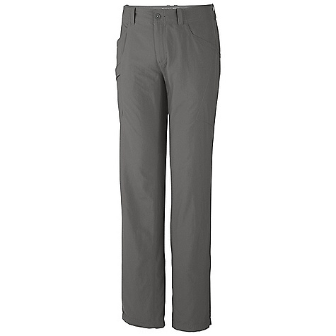 Free Shipping. Mountain Hardwear Men's Mesa Pant V2 DECENT FEATURES of the Mountain Hardwear Men's Mesa Pant V2 Mesh drain panels in pockets for river crossings and spontaneous swims Zippered side pocket, with key clip Knife pocket Full-length inseam gusset for mobility DWR finish repels water The SPECS Average Weight: 9 oz / 264 g Inseam: 30, 32, 34in. / 76, 81, 86 cm Body: Canyon Twill II 100% nylon - $64.95
