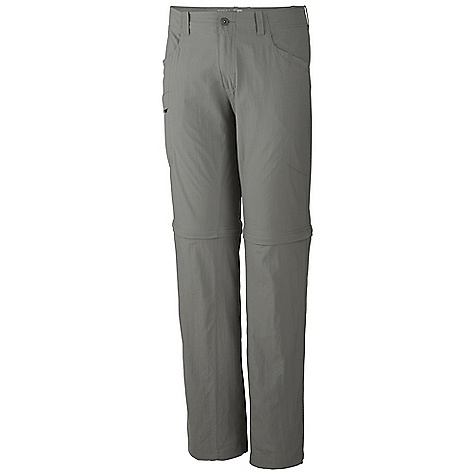 Free Shipping. Mountain Hardwear Men's Mesa Convertible Pant V2 DECENT FEATURES of the Mountain Hardwear Men's Mesa Convertible Pant V2 Mesh drain panels in pockets for river crossings and spontaneous swims Zippered side pocket, with key clip Knife pocket Convert to shorts with an 11in. inseam Full-length inseam gusset for mobility The SPECS Average Weight: 11 oz / 299 g Inseam: 30, 32, 34in. / 76, 81, 86 cm Body: Canyon Twill II 100% nylon - $74.95