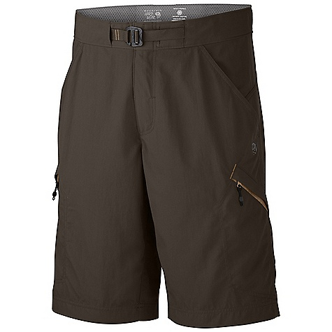On Sale. Free Shipping. Mountain Hardwear Men's Portino Short FEATURES of the Mountain Hardwear Men's Portino Short Waist construction with three independent closures prevents failure on the trail Zip to the top. fly for lowest profile waistband available Integrated belt for one handed fit adjustments Doubled fabric panels at seat for reinforcement Roomy side zip pockets with key clip - $32.99