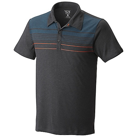Free Shipping. Mountain Hardwear Men's Frequentor SS Stripe Polo Top DECENT FEATURES of the Mountain Hardwear Men's Frequentor Short Sleeve Stripe Polo Top Dri-Release blended yarns wick moisture and minimize odor The SPECS Average Weight: 7 oz / 199 g Center Back Lenght: 29in. / 74 cm Body: Karry-on Slub Jersey (92% polyester, 8% wool) - $64.95