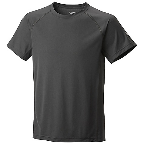 Free Shipping. Mountain Hardwear Men's Justo Trek SS T DECENT FEATURES of the Mountain Hardwear Men's Justo Trek Sort Sleeve T Wick.Q EVAP on back panel disperses moisture for quick evaporation Wicking, fast drying, stretch fabric Seams rotated away from pressure points for comfort under a pack Antimicrobial finish controls odor The SPECS Average Weight: 4 oz / 125 g Centre Back Length: 29in. / 74 cm Body: Tipa Warp Knit 100% polyester Panel: Wick.Q EVAP Tipa Warp Knit 100% polyester - $49.95