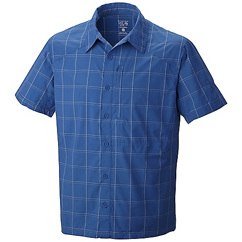 Free Shipping. Mountain Hardwear Men's Nollaf SS Shirt DECENT FEATURES of the Mountain Hardwear Men's Nollaf Short Sleeve Shirt Seams rotated away from pressure points for comfort under a pack Flip-up sun protection collar Zip chest pocket Wrinkle-resistant, quick-drying and durable fabric The SPECS Average Weight: 6 oz / 163 g Center Back Length: 29in. / 74 cm Body: Nollaf plaid (58% Supplex nylon, 42% polyester St-400) - $69.95