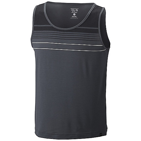 Surf Mountain Hardwear Men's Soul Slinger Tank DECENT FEATURES of the Mountain Hardwear Men's Soul Slinger Tank Fast drying polyester feels like cotton The SPECS Average Weight: 5 oz / 139 g Center Back: 26.5in. / 67 cm Body: Drytouch Spun poly Jersey (96% polyester, 4% elastane) - $37.95