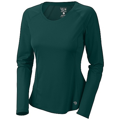 Free Shipping. Mountain Hardwear Women's Tephra Trek LS Crew T DECENT FEATURES of the Mountain Hardwear Women's Tephra Trek Long Sleeve Crew T Wick.Q EVAP on back panel disperses moisture for quick evaporation Wicking, fast drying, stretch fabric Seams rotated away from pressure points for comfort under a pack Antimicrobial finish controls odor The SPECS Average Weight: 4 oz / 125 g Center Back Length: 25in. / 64 cm Body: Tipa Warp Knit (100% polyester) Panel: Wick.Q EVAP Tipa Warp Knit (100% polyester) - $54.95