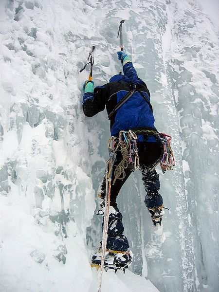 Climbing Scaling Giant Frozen Ice Fall