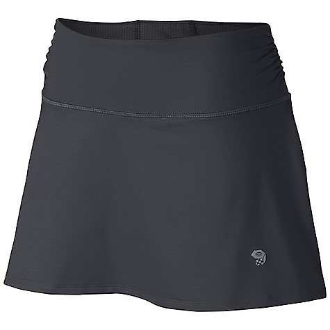 Free Shipping. Mountain Hardwear Women's Mighty Power Skort DECENT FEATURES of the Mountain Hardwear Women's Mighty Power Skort Wicking, fast-drying, stretch fabric Inside waistband pocket for strategic storage Inner short adds comfort and reduces chafe Reflective trim for visibility Wide low-profile waistband for comfort Flat-lock seam construction eliminates chafe The SPECS Average Weight: 6 oz / 178 g Inseam: Skirt Outsem: 13.75in. / 35 cm, Short: 3.5in. / 9 cm Body: Besso Jersey v2.0 (82% polyester, 18% elastane) Mesh: Mighty power Mesh (89% polyester, 11% elastane) - $54.95