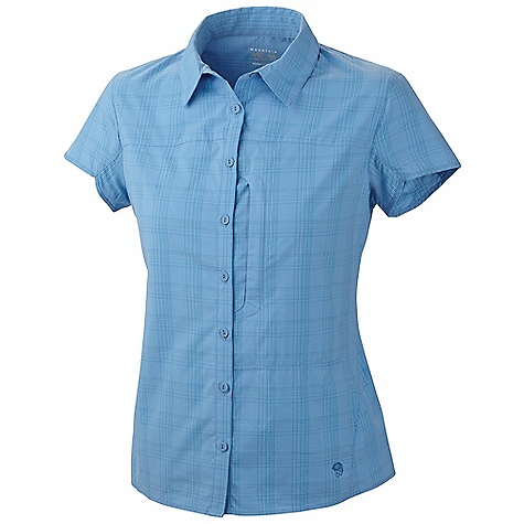 Free Shipping. Mountain Hardwear Women's Terralake SS Shirt DECENT FEATURES of the Mountain Hardwear Women's Terralake Short Sleeve Shirt Seams rotated away from pressure points for comfort under a pack Flip-up sun protection collar Wrinkle-resistant, quick-drying and durable fabric Zip map pocket Darts at front add feminine detail The SPECS Average Weight: 4 oz / 123 g Center Back Length: 26in. / 66 cm Body: Terralake plaid (58% Supplex nylon, 42% polyester t-400) - $64.95