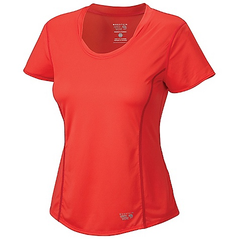 Mountain Hardwear Women's Wicked Lite SS T DECENT FEATURES of the Mountain Hardwear Women's Wicked Lite Sort Sleeve T Wicking, fast drying fabric Antimicrobial finish controls odor Flat-lock seam construction eliminates chafe Reflective trim for visibility The SPECS Average Weight: 3 oz / 75 g Center Back Length: 25.5in. / 65 cm Body: Wicked Taper SD 100% polyester - $34.95