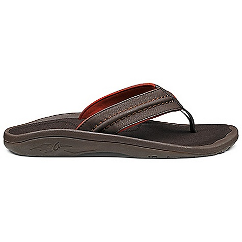 Surf The OluKai Men's Hokua Sandal is a leather thong sandal for walking the sandy beaches day in and day out. Built to be durable for the rigors of ocean-side living, the synthetic leather strap is water-resistant and stitched with heavyweight deco. The inside of the strap is lined with soft jersey knit and a neoprene backer that dries quickly so you can hop in your car and take ?em into town after a morning of surfing. The cushy Footbed is anatomically shaped to cup your heel and support your arch with plenty of room for your toes. A happy place for your feet. Features of the OluKai Men's Hokua Sandal Weather-resistant and floats Non-marking gum rubber Outsole, lugged and siped for enhanced grip Anatomical compression-molded EVA Midsole with a brushed ICEVA drop-in Footbed for personalized Fit Lightweight, quick drying, breathable and durable materials built for in and around water Vegan friendly footwear - $69.95