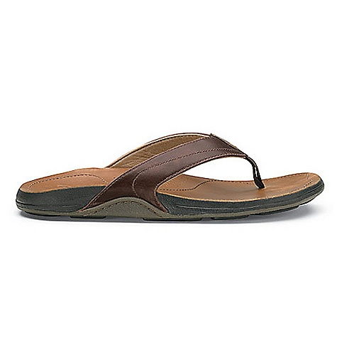 Surf Free Shipping. OluKai Men's Kumu Sandal DECENT FEATURES of the OluKai Men's Kumu Sandal Full-grain high character leather upper Compression-molded EVA midsole with a full-grain leather footbed. Anatomically correct contour for a personalized fit and sustained comfort over time. Non-marking rubber outsole with wave-inspired artwork Soft nylon toe post webbing Microstitched footbed outline Embossed hook design on footbed - $79.95