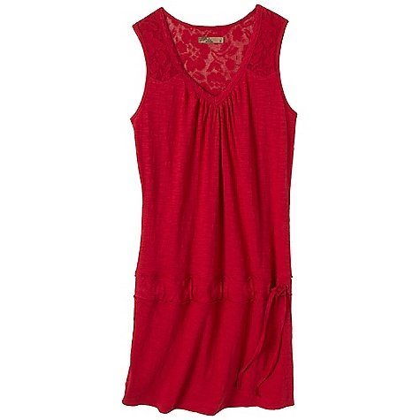 Entertainment Free Shipping. Prana Women's Bree Dress DECENT FEATURES of the Prana Women's Bree Dress Jersey and crochet lace Adjustable drop waist Lace trim detail along neckline edge and front/back yoke The SPECS 100 Organic Cotton - $64.95