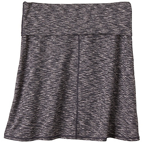 Free Shipping. Prana Women's Leanne Skirt DECENT FEATURES of the Prana Women's Leanne Skirt Space dye performance jersey Roll Down waistband Above the knee length Outseam: 18.25in. / 46.4 cm The SPECS 55 Tactel Nylon / 40 Polyester / 5 Spandex 5.5 oz / sq yd - $64.95