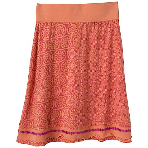 Free Shipping. Prana Women's Lisette Skirt DECENT FEATURES of the Prana Women's Lisette Skirt Stretch jersey Multi-panel skirt with mixed prints Contrast embroidery detail along bottom hem Outseam: 23in. / 58.4 cm The SPECS 97 Organic Cotton / 3 Spandex - $64.95