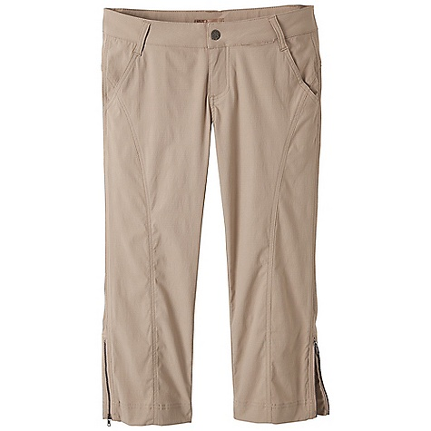 Free Shipping. Prana Women's Olivia Capri DECENT FEATURES of the Prana Women's Olivia Capri Stretch, performance mini ripstop Capri length with novelty topstitching Back welt pockets Coil zippers at sideseam hems Inseam: 22in. / 55.9 cm Relaxed fit The SPECS 96 Nylon / 4 Spandex 4.1 oz / sq yd - $74.95