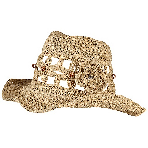 Prana Women's Julsie Cowboy Hat DECENT FEATURES of the Prana Women's Julsie Cowboy Hat Paper straw wide brimmed hat Wiring in brim for flexibility and versatility in styling Self flower appliques with wooden bead detail Standard fit The SPECS 100 Paper - $47.95