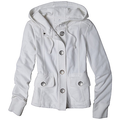 Free Shipping. Prana Women's Janelle Jacket DECENT FEATURES of the Prana Women's Janelle Jacket Pigment dyed french terry Front pockets and oversized distressed metal buttons The SPECS 100 Organic Cotton - $84.95