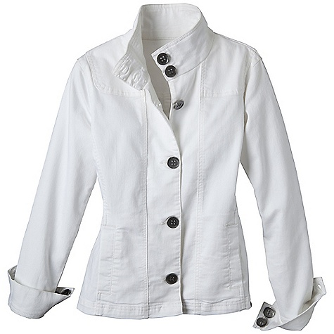 Free Shipping. Prana Women's Kara Denim Jacket DECENT FEATURES of the Prana Women's Kara Denim Jacket Soft stretch 'Kara' denim jacket Metal buttons at center front Unlined Standard fit The SPECS 79 Cotton / 19 Polyester / 2 Spandex 8 oz / sq yd - $84.95
