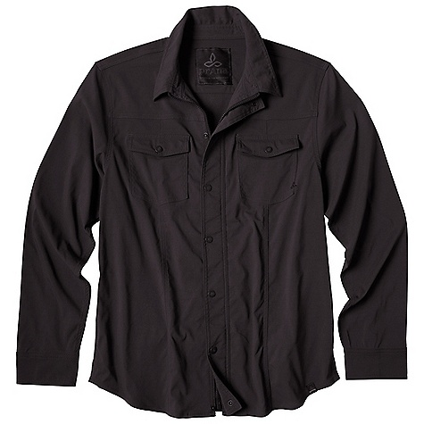 Free Shipping. Prana Men's Shadow Jacket DECENT FEATURES of the Prana Men's Shadow Jacket Durable signature Stretch Zion abrasion resistant fabric Full front zipper closure Full front snap closure Reinforced flat felt seaming along front chest DWR coated Standard Fit The SPECS 97 Nylon / 3 Spandex - $108.95