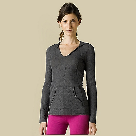 Free Shipping. Prana Women's Angie Hoodie DECENT FEATURES of the Prana Women's Angie Hoodie Jaquard mesh performance knit Shirttail hem Princess seams contour to body Front patch pocket - $69.95