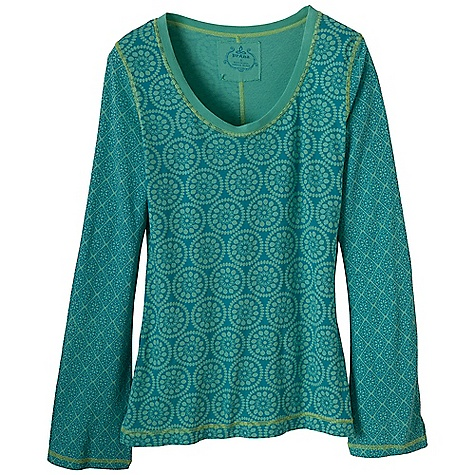 Free Shipping. Prana Women's Lisette LS Top DECENT FEATURES of the Prana Women's Lisette Long Sleeve Top Jersey Scoop neck top with mixed prints The SPECS 100 Organic Cotton - $59.95