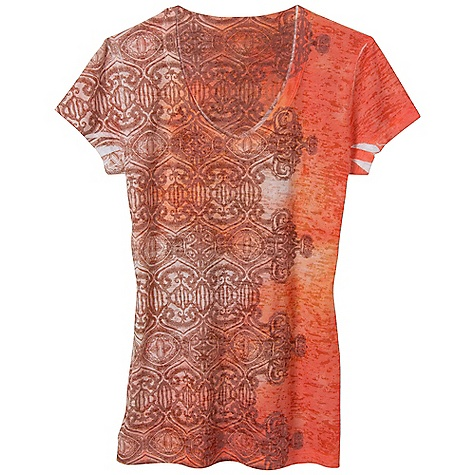 Free Shipping. Prana Women's Bindi Tee DECENT FEATURES of the Prana Women's Bindi Tee Lightweight burnout fabric V-neck tee with bindi sublimation print at side body The SPECS 50 Cotton / 50 Polyester - $54.95