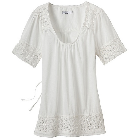 Free Shipping. Prana Women's Heather Top DECENT FEATURES of the Prana Women's Heather Top Lightweight garment dye voile Scoop neck Slight tunic length Crochet lace insets and functional self tie at back The SPECS 100 Organic Cotton - $59.95