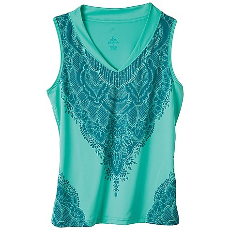 Surf Free Shipping. Prana Women's Melody Tank DECENT FEATURES of the Prana Women's Melody Tank Lightweight ottoman performance jersey Drapes over body Shaped collar Sublimation print at front body The SPECS 90 Recycled Polyester / 10 Lycra 3.45 oz / sq yd - $49.95