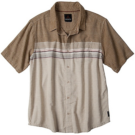Free Shipping. Prana Men's Camino SS Woven Top DECENT FEATURES of the Prana Men's Camino Short Sleeve Woven Top Lightweight plain weave slub fabrication Engineered horizontal stripe Pearlized button closure Standard Fit The SPECS 100 Organic Cotton - $64.95