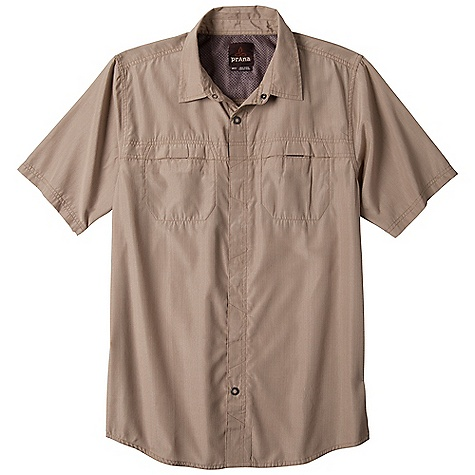Free Shipping. Prana Men's Companion SS Woven Top DECENT FEATURES of the Prana Men's Companion Short Sleeve Woven Top Travel friendly fabrication UPF rating helps protect against sun exposure Double front pockets with no-fuss velcro closure Standard Fit The SPECS 53 Polyester / 47 Cotton - $67.95