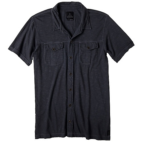 Features of the Prana Men's Hayes Button Down Short Sleeve Polo Peached knit with quick drying blend of polyester Rugby stripe layout - $27.99
