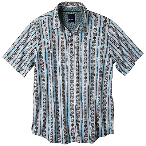 Free Shipping. Prana Men's Hilman SS Woven Top DECENT FEATURES of the Prana Men's Hilman Short Sleeve Woven Top Lightweight plain weave fabrication All over print Pearlized button closure Standard Fit The SPECS 100 Organic Cotton - $64.95