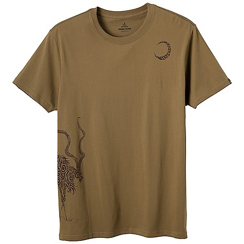 Prana Men's Kudu Tee DECENT FEATURES of the Prana Men's Kudu Tee Kudu in the moonlight, drawn with tribal designs Fair Trade garment Purchase of this garment supports better working conditions for the cotton farmers and factory workers who made it For each item sold, they earn a premium to invest in social development projects and to fight poverty in thier communities Waterbased screenprint Standard Fit The SPECS 100 Organic Cotton - $39.95