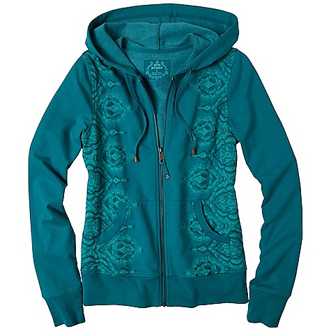 Free Shipping. Prana Women's Brandie Hoodie DECENT FEATURES of the Prana Women's Brandie Hoodie French terry with enzyme wash Zip front hoodie with distressed medallion art at side panels The SPECS 80 Cotton / 20 Polyester - $79.95
