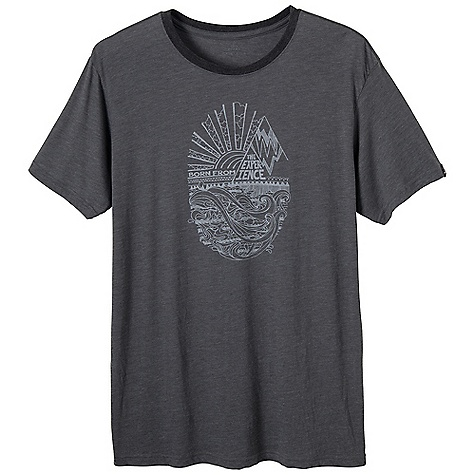 Prana Men's Eco Tee DECENT FEATURES of the Prana Men's Eco Tee Block print of ocean, mountains and sky Lightweight heathered jersey Waterbased screenprint Standard Fit The SPECS 60 Cotton / 40 Polyester - $34.95